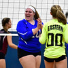 10/19/2016 Mike Orazzi | Staff<br /> Bristol Eastern's Mikayla Martin (10) and Paige McLaughlin (00) during Wednesday nights volleyball match in Bristol.