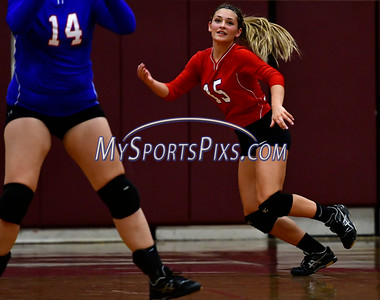 9/20/2016 Mike Orazzi | Staff St. Paul volleyball's Emma McPhee (15) Tuesday night at Torrington High School.