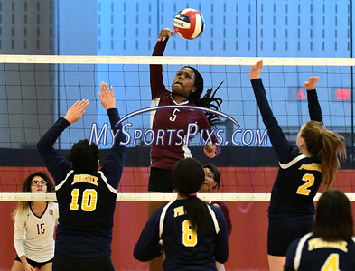 11/3/2016 Mike Orazzi | Staff Innovation's Kimberly Okeke (5) during the CRAL Volleyball Championship Thursday in New Britain.
