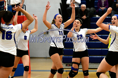 11/2/2016 Mike Orazzi | Staff Southington celebrates during Wednesday night's volleyball match with Tolland High School during the CCC Volleyball Tournament.