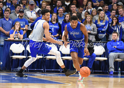 Malik Monk leads a break on Saturday evening during the UK Blue-White game in Lexington.  MARTY CONLEY/ FOR THE DAILY INDEPENDENT