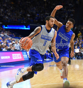 Mychal Mulder drives the baseline as Malik Monk defends during the UK Blue-White game in Lexington on Saturday.  MARTY CONLEY/ FOR THE DAILY INDEPENDENT