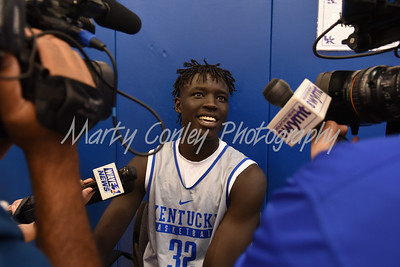 UK freshman, Wenyen Gabriel talks with media on Thursday afternoon.  MARTY CONLEY/ FOR THE DAILY INDEPENDENT