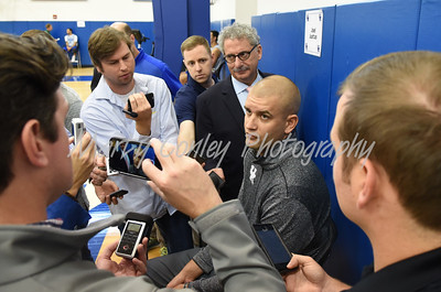UK assistant basketball coach, Joel Justus talks with the media on Thursday afternoon.  MARTY CONLEY/ FOR THE DAILY INDEPENDENT