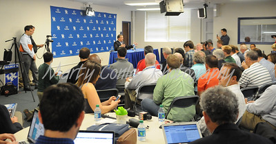 UK's John Calipari address the media during media day on Thursday afternoon in Lexington.  MARTY CONLEY/ FOR THE DAILY INDEPENDENT