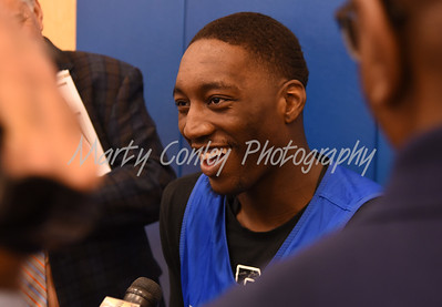 UK's Bam Adebayo laughs with the media on Thursday afternoon during media day in Lexington.  MARTY CONLEY/ FOR THE DAILY INDEPENDENT