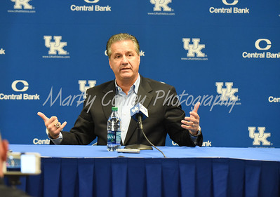 Kentucky head basketball coach, John Calipari talks with the media on Thursday afternoon.  MARTY CONLEY/ FOR THE DAILY INDEPENDENT