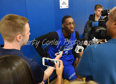 UK's Bam Adebayo responds to a question from the media on Thursday afternoon.  MARTY CONLEY/ FOR THE DAILY INDEPENDENT
