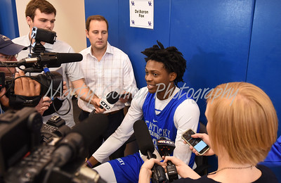 UK's De'Aaron Fox answers questions from the media on Thursday afternoon.  MARTY CONLEY/ FOR THE DAILY INDEPENDENT