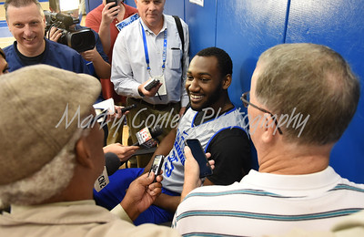 UK senior, Dominique Hawkins laughs with the media on Thursday afternoon in Lexington.  MARTY CONLEY/ FOR THE DAILY INDEPENDENT