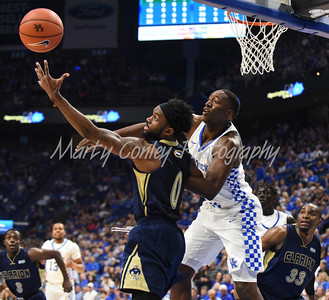 Kentucky's Bam Adebayo and Clarion's  BJ Andrews battle for the ball on Sunday evening.  MARTY CONLEY/ FOR THE DAILY INDEPENDENT