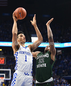 UK's Sacha Killeya-Jones puts back on shot against Cleveland State on Wednesday afternoon.  MARTY CONLEY/ FOR THE DAILY INDEPENDENT