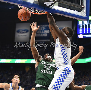 Kentucky's Bam Adebayo throws down a big dunk against Cleveland State on Wednesday.  MARTY CONLEY/ FOR THE DAILY INDEPENDENT