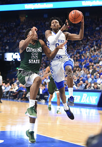 De'Aaron Fox of Kentucky drives to the hoop as Cleveland State's Evan Clayborne defends.  MARTY CONLEY/ FOR THE DAILY INDEPENDENT