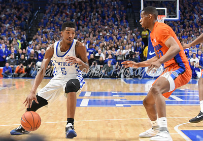 Kentucky's Malik Monk drives to the lane as Florida's Justin Leon defends on Saturday afternoon at Rupp Arena.  MARTY CONLEY/ FOR THE DAILY INDEPENDENT
