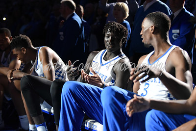 Wenyen Gabriel and Bam Adebayo of Kentucky during player introductions on Tuesday against LSU.  MARTY CONLEY/ FOR THE DAILY INDEPENDENT