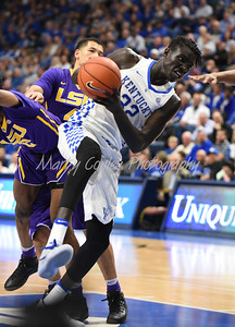 Weyen Gabriel pulls down a rebound in the first half against LSU on Tuesday evening.  MARTY CONLEY/ FOR THE DAILY INDEPENDENT