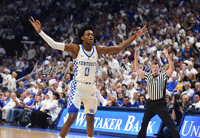 Kentucky's De'Aaron Fox reacts after a three pointer on Saturday against UCLA.  MARTY CONLEY/ FOR THE DAILY INDEPENDENT
