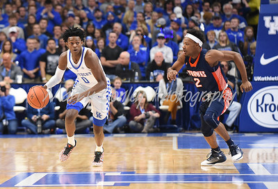 Kentucky's De'Aaron Fox leads a fast break against UT-Martin on Friday evening.  MARTY CONLEY/ FOR THE DAILY INDEPENDENT