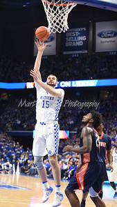 Isaac Humphries of Kentucky lofts a hook shot against UT-Martin on Friday evening.  MARTY CONLEY/ FOR THE DAILY INDEPENDENT