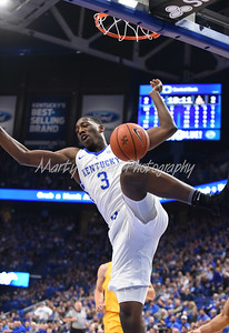 Kentucky's Bam Adebayo finishes a big dunk against Valparaiso on Wednesday evening in Lexington.  MARTY CONLEY/ FOR THE DAILY INDEPENDENT