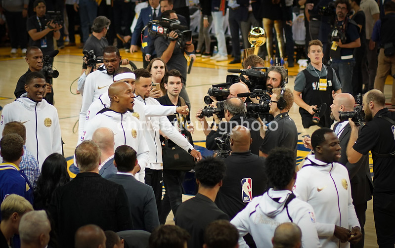 10/17/17: Golden State Warriors vs Houston Rockets at Oracle Arena in Oakland, Ca by Chris M. Leung<br /> <br /> The chaos that was the behind the scenes of the ring shot the Warriors used on their Instagram.