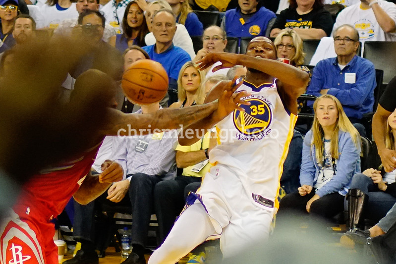 10/17/17: Golden State Warriors vs Houston Rockets at Oracle Arena in Oakland, Ca by Chris M. Leung<br /> <br /> Definitely a flagrant foul on Kevin Durant (35)