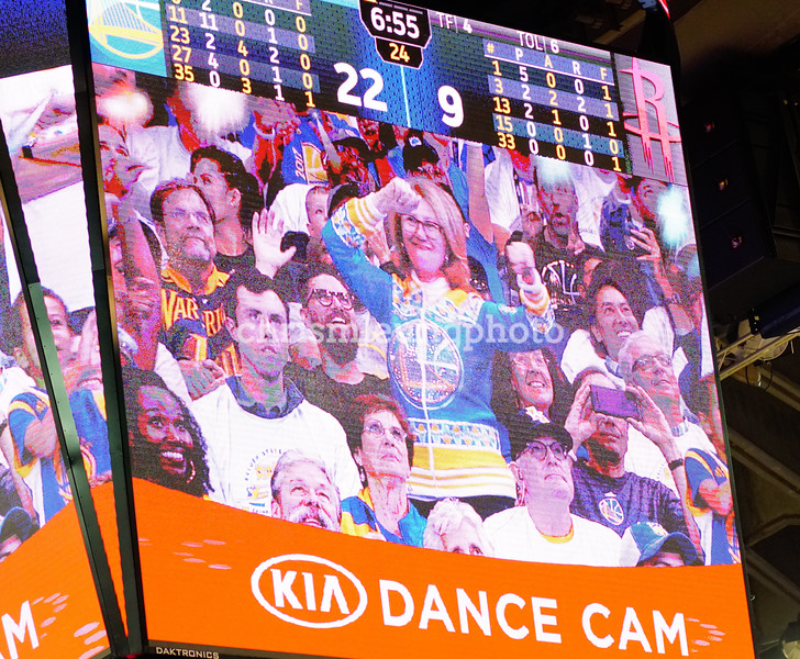 "10/17/17: Golden State Warriors vs Houston Rockets at Oracle Arena in Oakland, Ca by Chris M. Leung<br /> <br /> ""Dance Cam Mom"" Robin Shreiber makes her appearance!"