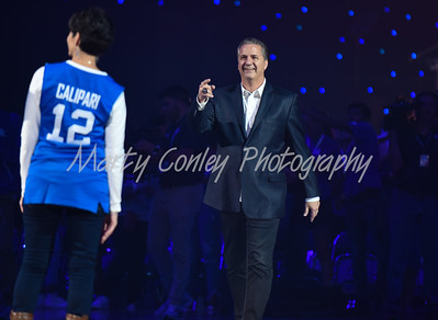 Kentucky head coach, John Calipari makes his way to center court on Friday during Big Blue Madness in Lexington.  MARTY CONLEY/ FOR THE DAILY INDEPENDENT