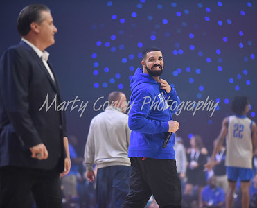 Drake talks with the Rupp Arena crowd on Friday during Kentucky's Big Blue Madness in Lexington.  MARTY CONLEY/ FOR THE DAILY INDEPENDENT