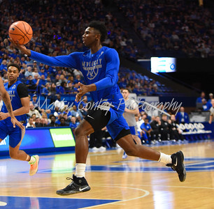 Hamidou Diallo of Kentucky lofts a pass to the rim on Friday during UK's Blue- White game in Lexington.  MARTY CONLEY/ FOR THE DAILY INDEPENDENT