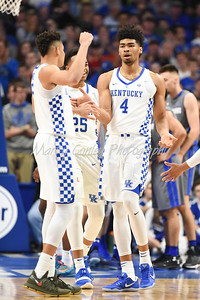 Nick RIchards of Kentucky is given a high five by teammate, Kevin Knox after scoring against Fort Wayne on Wednesday evening.  MARTY CONLEY/ FOR THE DAILY INDEPENDENT