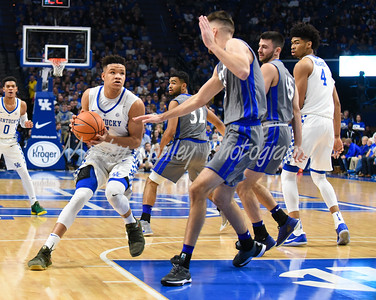 Kevin Knox of Kentucky drives in the paint against Fort Wayne on Wednesday evening in Lexington.  MARTY CONLEY/ FOR THE DAILY INDEPENDENT