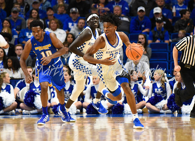 Kentucky's Shai Gilgeous-Alexander leads a fast break on Monday against Morehead in Lexington.  MARTY CONLEY/ FOR THE DAILY INDEPENDENT