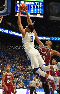 Kentucky's Kevin Knox dunks the ball on Monday evening against Troy.  MARTY CONLEY/ FOR THE DAILY INDEPENDENT