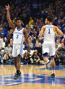 Kentucky's Hamidou Diallo celebrates after a Kentucky score on Monday against Troy.  MARTY CONLEY/ FOR THE DAILY INDEPENDENT