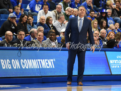 Kentucky head coach, John Calipari shouts instructions to his team on Monday against Troy.  MARTY CONLEY/ FOR THE DAILY INDEPENDENT