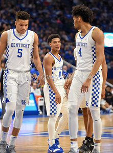 Kentucky's Quade Green and Nick Richards chat on Sunday against UIC in Lexington.  MARTY CONLEY/ FOR THE DAILY INDEPENDENT