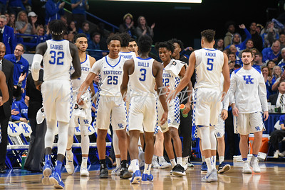 The Wildcats celebrate a Hamidou Diallo score during a timeout on Sunday against UIC.  MARTY CONLEY/ FOR THE DAILY INDEPENDENT