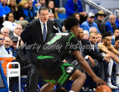 Kentucky head coach, John Calpari shout instruction to his defense on Friday against Utah Valley.  MARTY CONLEY/ FOR THE DAILY INDEPENDENT