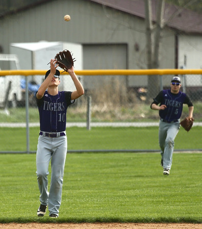 4-15-17<br /> Northwestern vs Mississenewa baseball<br /> NW's Logan Bowser makes the catch for an out.<br /> Kelly Lafferty Gerber   Kokomo Tribune