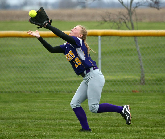 2-14-17<br /> Northwestern vs Oak Hill softball<br /> Kayla Fogle makes the catch for an out.<br /> Kelly Lafferty Gerber | Kokomo Tribune
