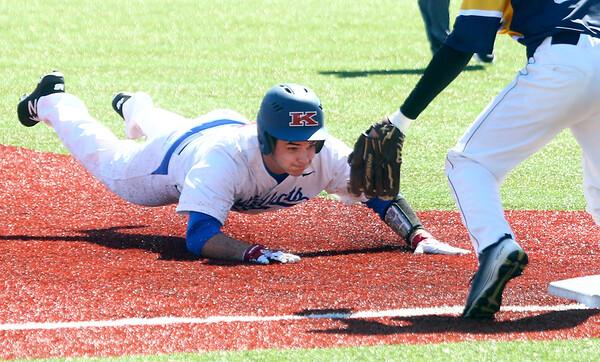 4-8-17<br /> Kokomo baseball vs SB Riley<br /> Kokomo's Noah Hurlock slide safely to third.<br /> Kelly Lafferty Gerber | Kokomo Tribune