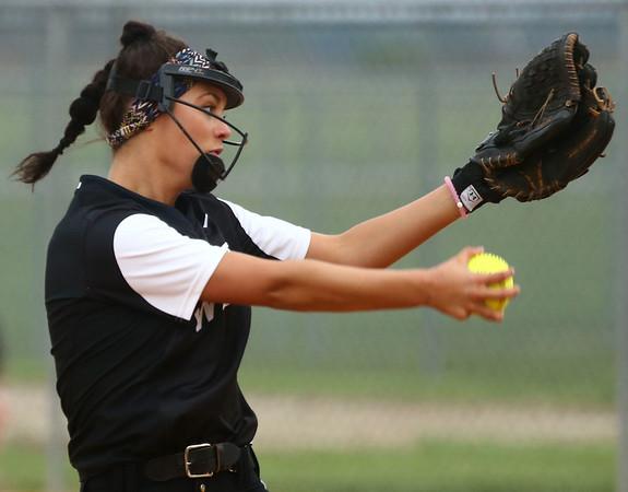 4-14-17<br /> Western vs Tipton softball<br /> Western's Morgan Tuberty pitches.<br /> Kelly Lafferty Gerber   Kokomo Tribune