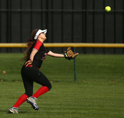 4-11-17<br /> Kokomo vs Taylor softball<br /> Taylor's Tori Gilstrap makes the catch for an out.<br /> Kelly Lafferty Gerber   Kokomo Tribune