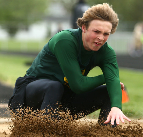 4-22-17<br /> Eastern track and field<br /> Lance Vanmatre in the long jump.<br /> Kelly Lafferty Gerber | Kokomo Tribune