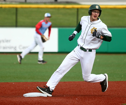 4-27-17<br /> Eastern vs Maconaquah baseball<br /> Eastern defeated Maconaquah in 5 innings, 13-3. Nolan Smalley rounds second base.<br /> Kelly Lafferty Gerber   Kokomo Tribune