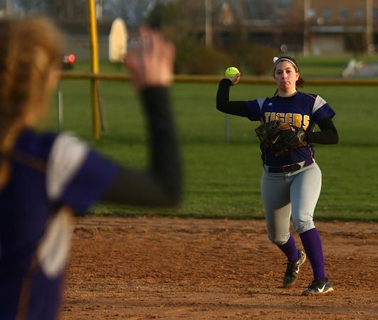 2-14-17<br /> Northwestern vs Oak Hill softball<br /> Sophia Beachy throws to first base for an out.<br /> Kelly Lafferty Gerber | Kokomo Tribune