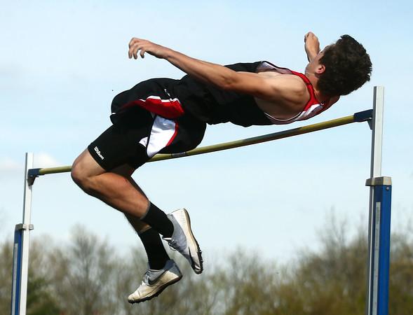 4-25-17<br /> Taylor track<br /> Clay Murray in the high jump<br /> Kelly Lafferty Gerber | Kokomo Tribune