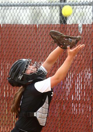 4-14-17<br /> Western vs Tipton softball<br /> Catcher Kinsey Smith makes the catch for an out.<br /> Kelly Lafferty Gerber | Kokomo Tribune